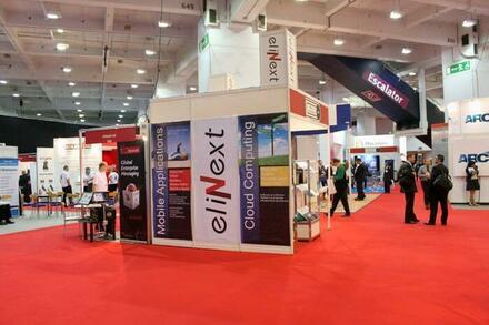Professional and appealing Elinext stall in an exhibition