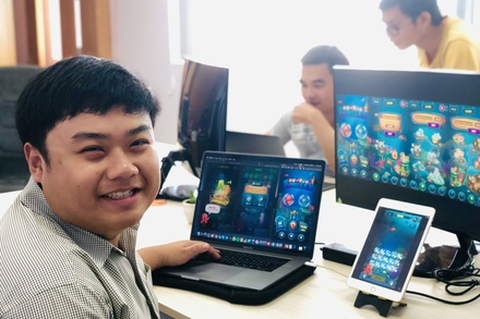 Bao, our Unity3D specialist looking proud of his project.